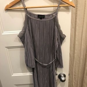 Silver off shoulder pleated dress